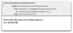 Malicious meeting email