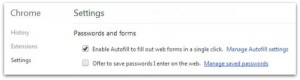 Chrome password settings