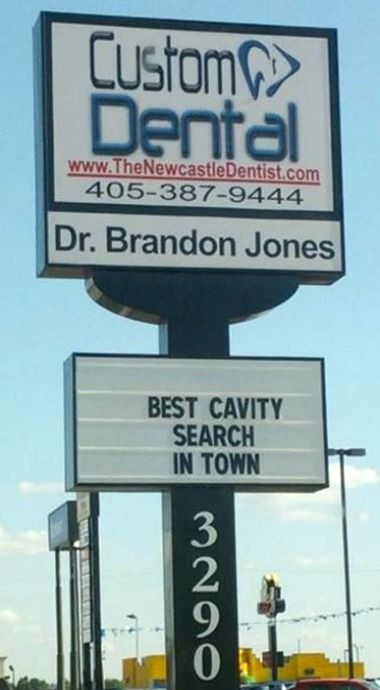 sunday funnies dentist sign