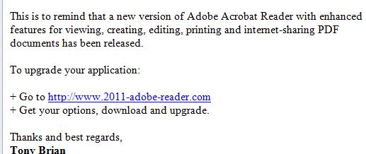 Fake Adobe Reader Update Email