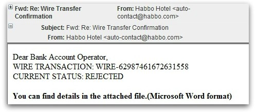 Fraudulent Wire Transfer Emails Carry Malware