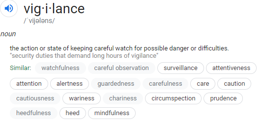 """vig·i·lance /ˈvijələns/ noun the action or state of keeping careful watch for possible danger or difficulties. """"Security duties that demand long hours of vigilance."""" Similar: watchfulness, careful observation, surveillance, attentiveness, attention, alertness, guardedness, carefulness, care, caution, cautiousness, wariness, circumspection, prudence, mindfulness"""